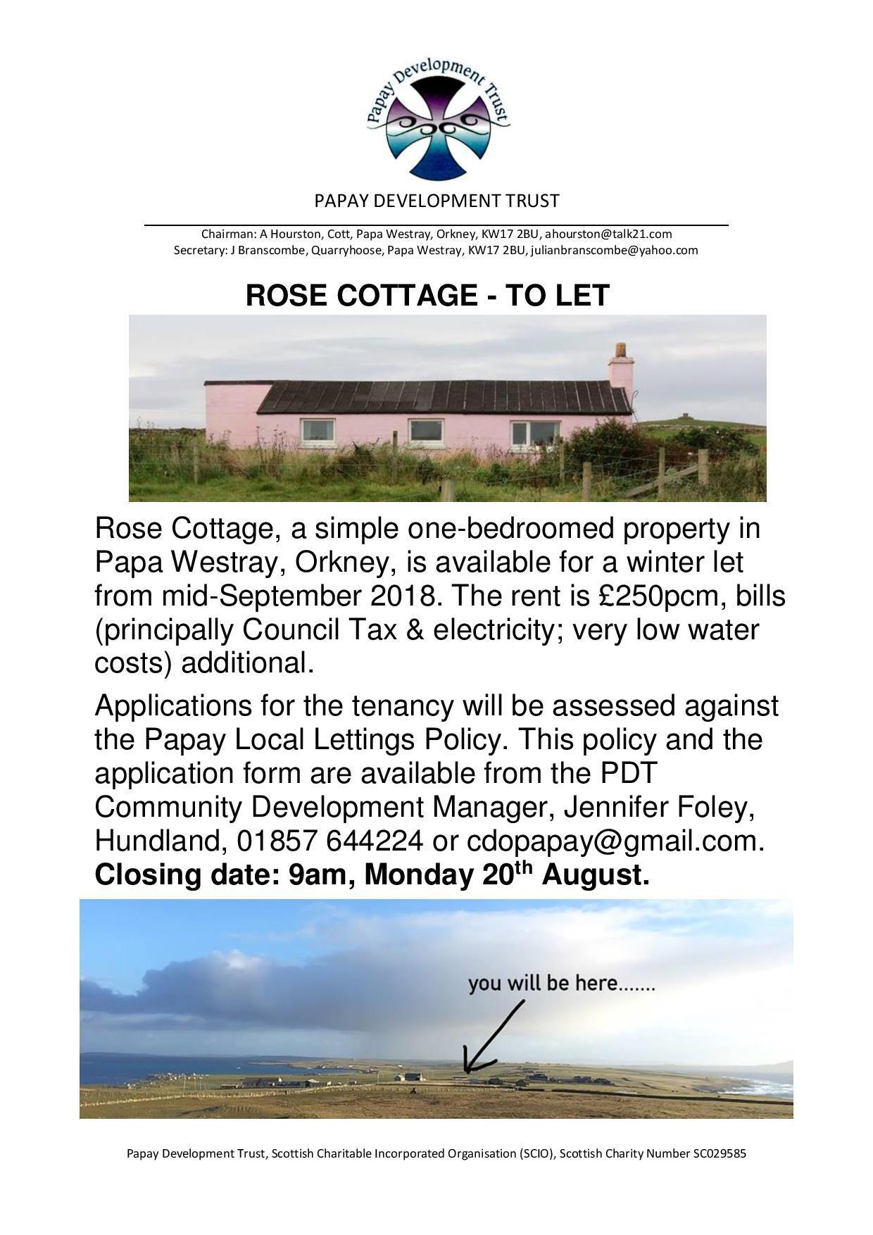 Rose Cottage to let